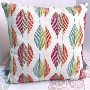 Decorative Throw Pillow with Embroidered Leaves